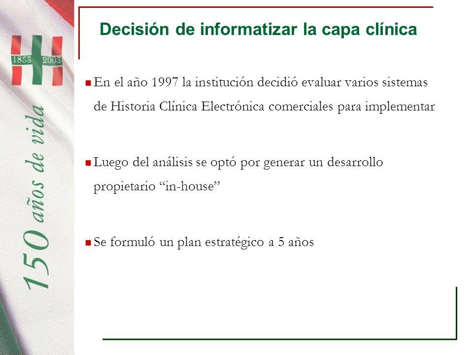 Decisión de informatizar la capa clínica