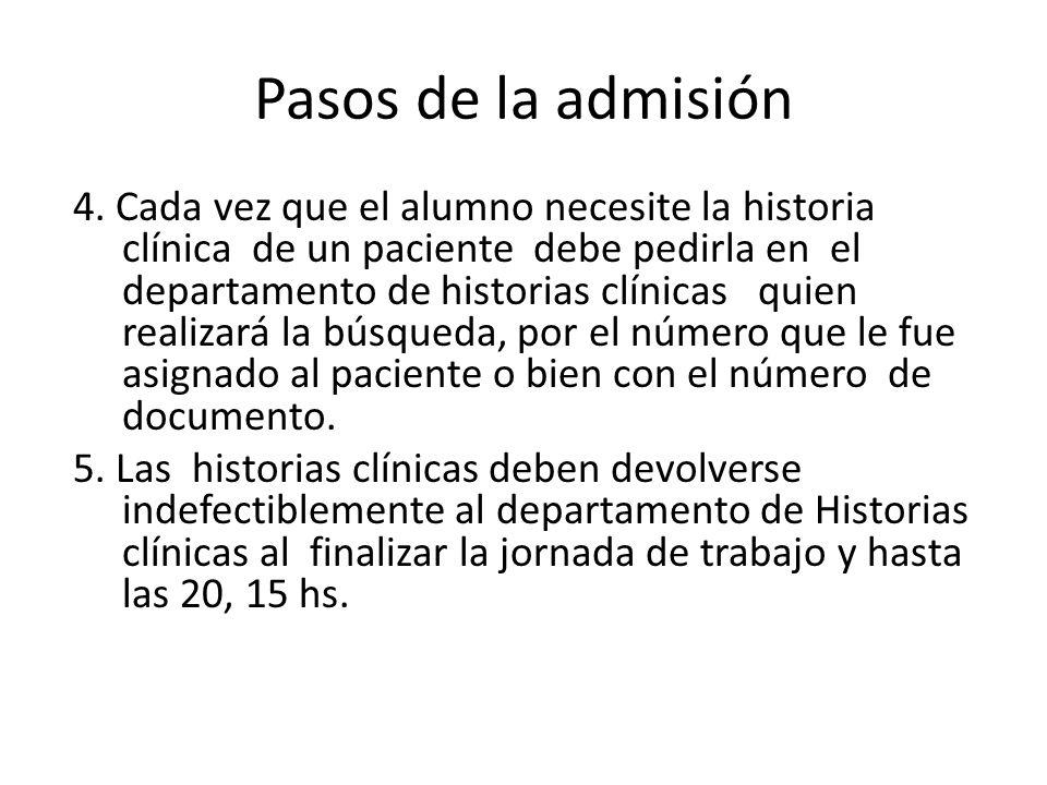 Pasos de la admisión