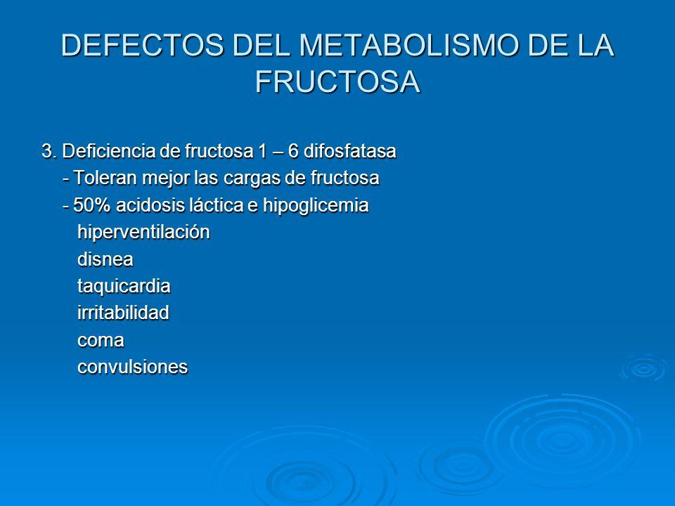 DEFECTOS DEL METABOLISMO DE LA FRUCTOSA