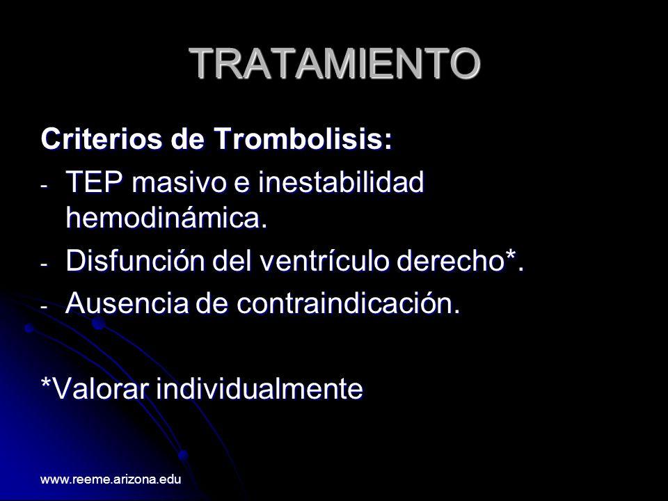 TRATAMIENTO Criterios de Trombolisis: