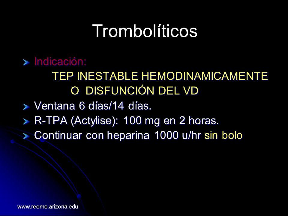Trombolíticos Indicación: TEP INESTABLE HEMODINAMICAMENTE