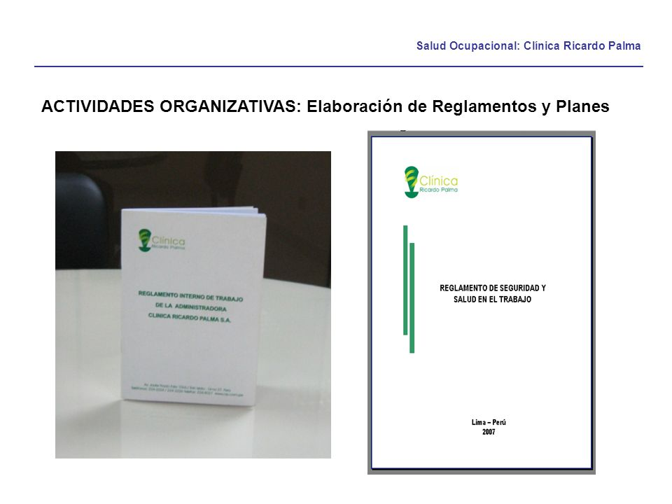 ACTIVIDADES ORGANIZATIVAS: Elaboración de Reglamentos y Planes