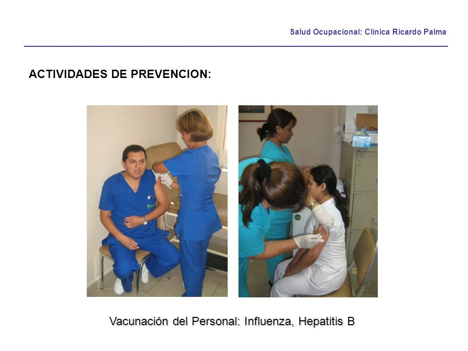 Vacunación del Personal: Influenza, Hepatitis B
