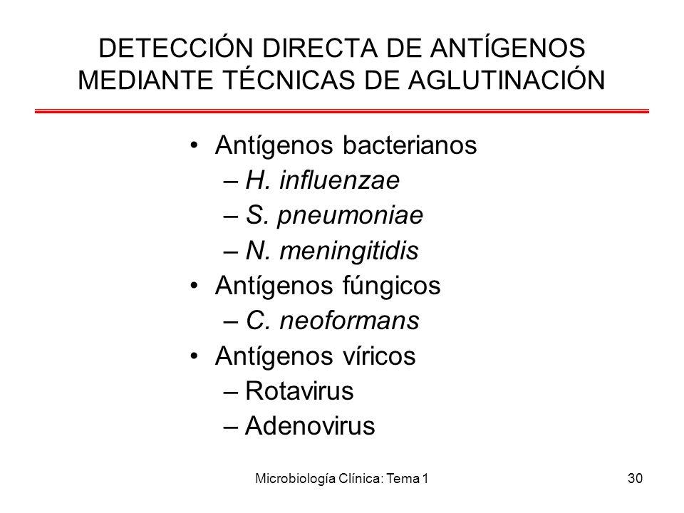 DETECCIÓN DIRECTA DE ANTÍGENOS MEDIANTE TÉCNICAS DE AGLUTINACIÓN