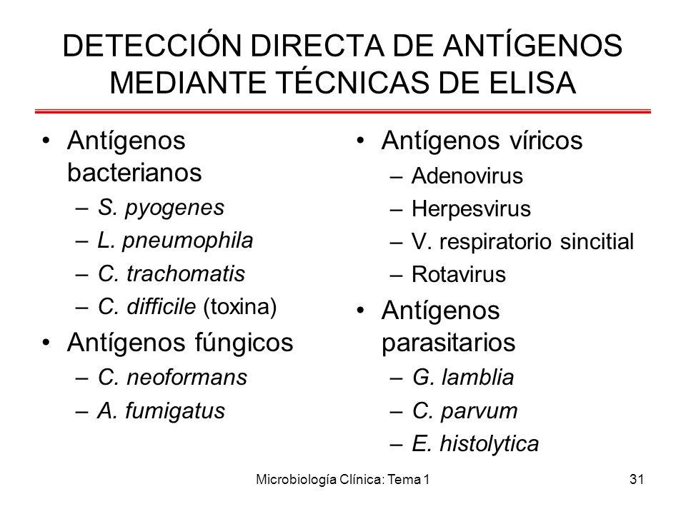 DETECCIÓN DIRECTA DE ANTÍGENOS MEDIANTE TÉCNICAS DE ELISA