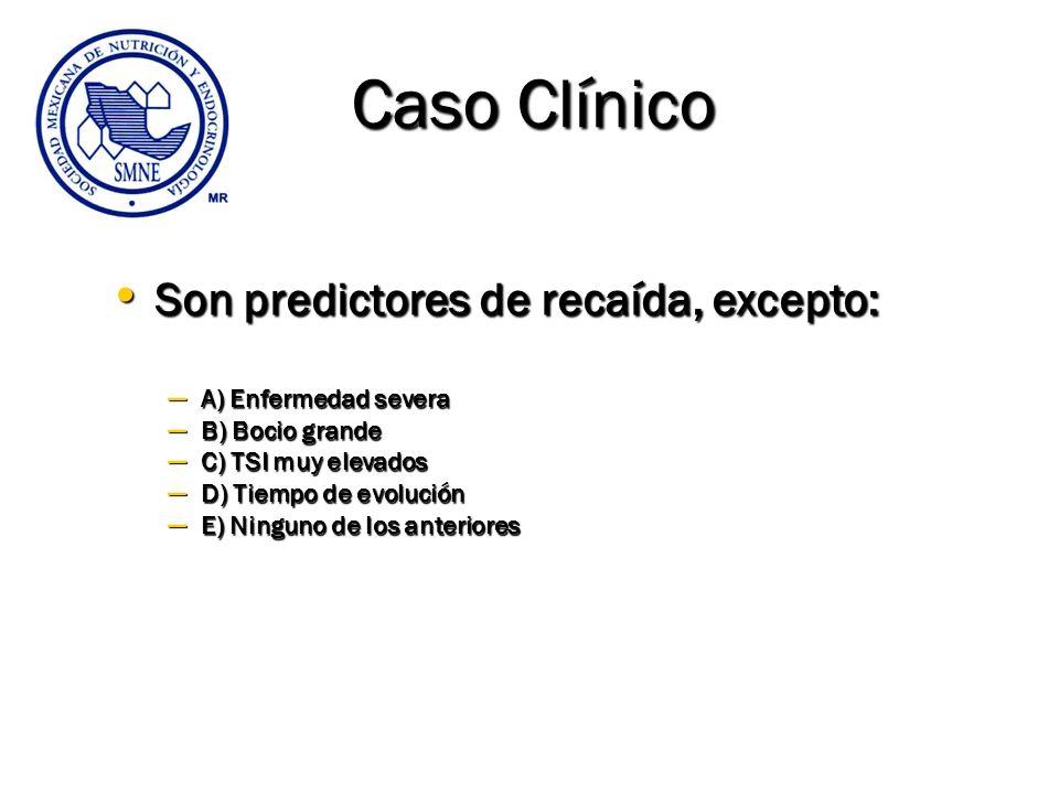 Caso Clínico Son predictores de recaída, excepto: A) Enfermedad severa