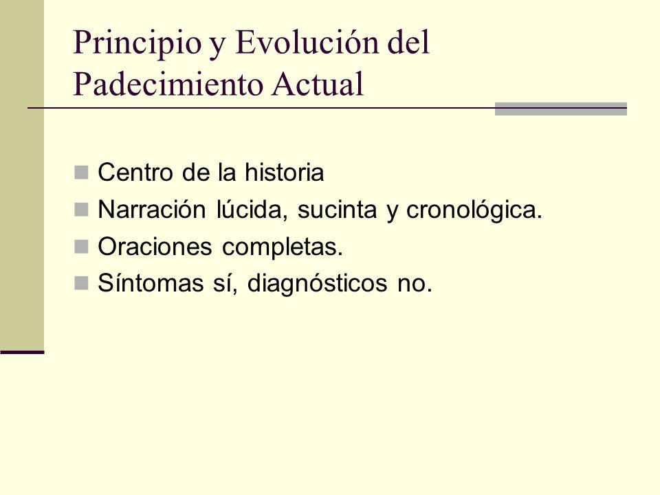 Principio y Evolución del Padecimiento Actual