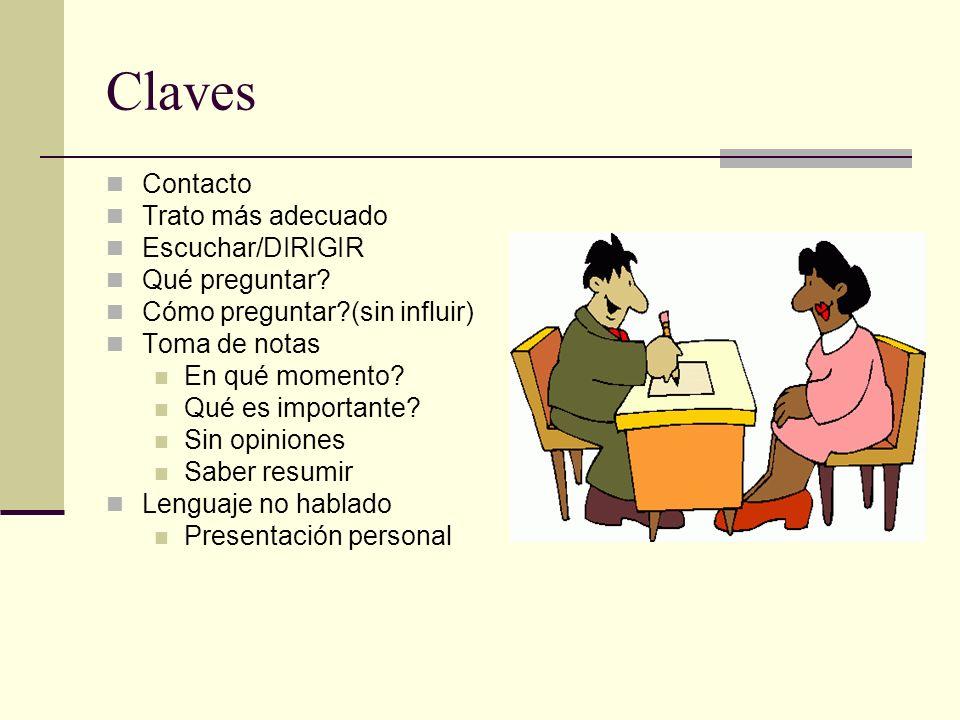 Claves Contacto Trato más adecuado Escuchar/DIRIGIR Qué preguntar