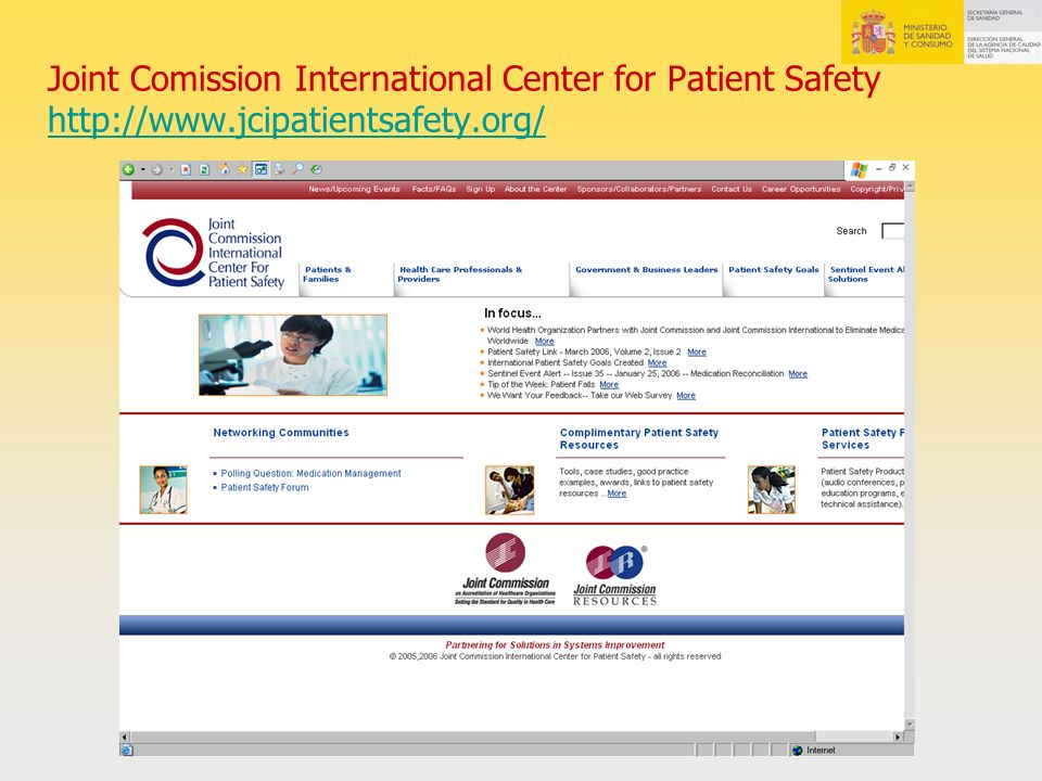 Joint Comission International Center for Patient Safety http://www
