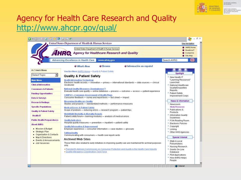 Agency for Health Care Research and Quality http://www.ahcpr.gov/qual/