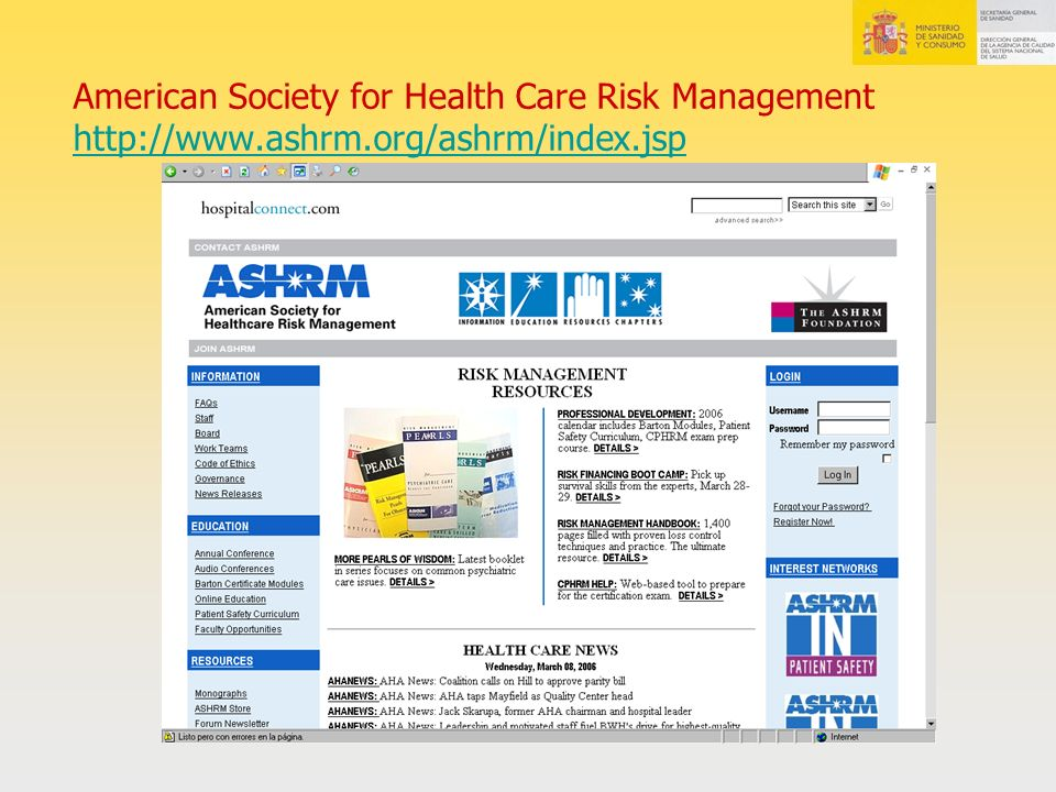American Society for Health Care Risk Management http://www. ashrm