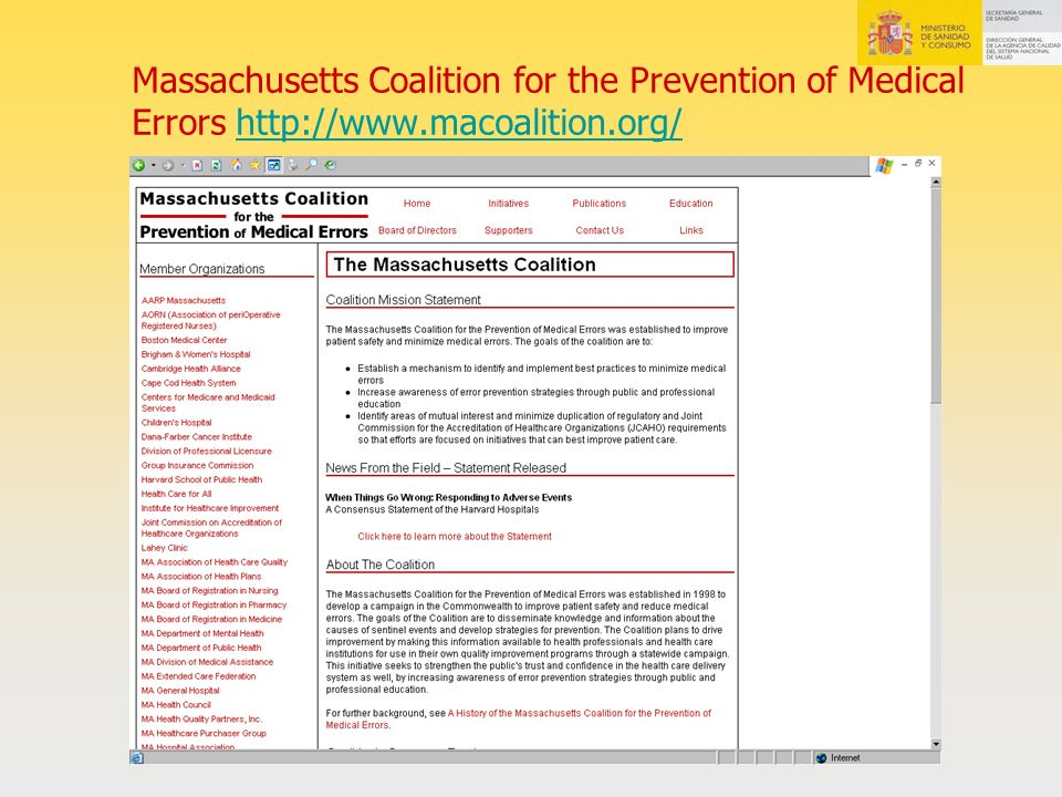 Massachusetts Coalition for the Prevention of Medical Errors http://www.macoalition.org/