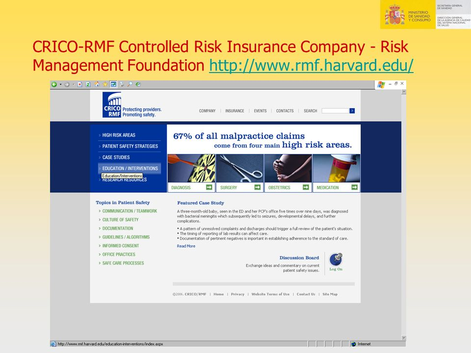 CRICO-RMF Controlled Risk Insurance Company - Risk Management Foundation http://www.rmf.harvard.edu/