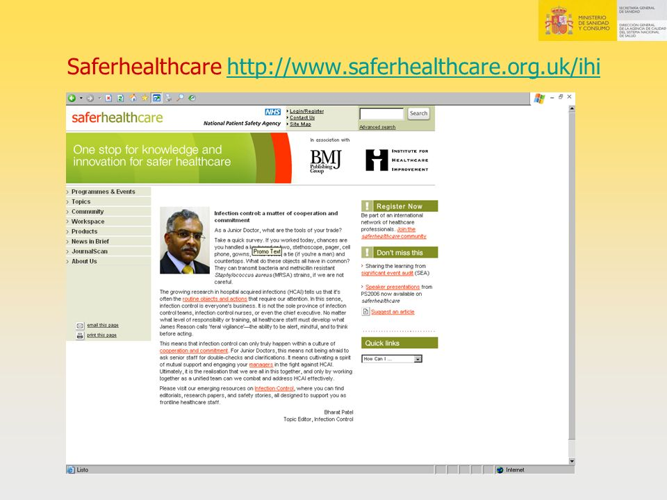 Saferhealthcare http://www.saferhealthcare.org.uk/ihi