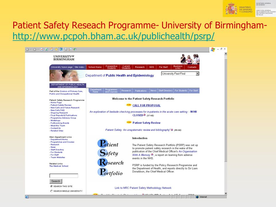Patient Safety Reseach Programme- University of Birmingham- http://www