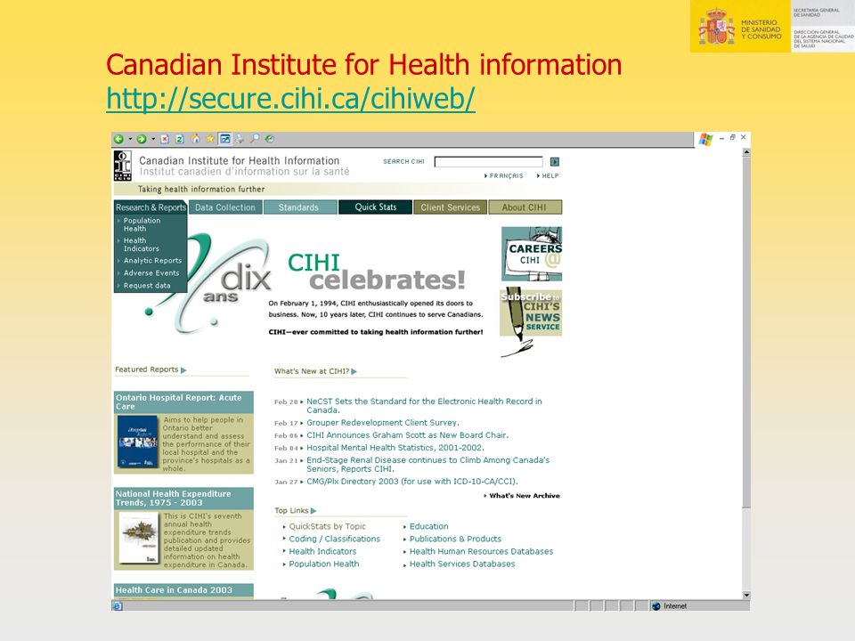 Canadian Institute for Health information http://secure. cihi