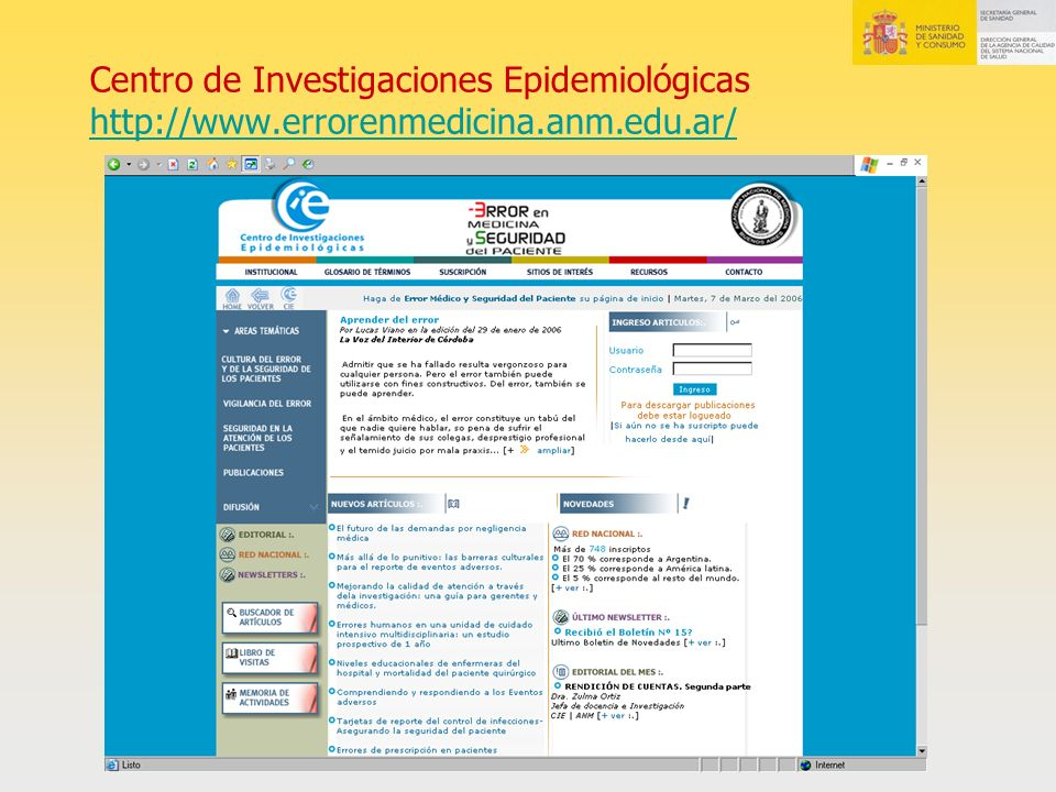 Centro de Investigaciones Epidemiológicas http://www. errorenmedicina
