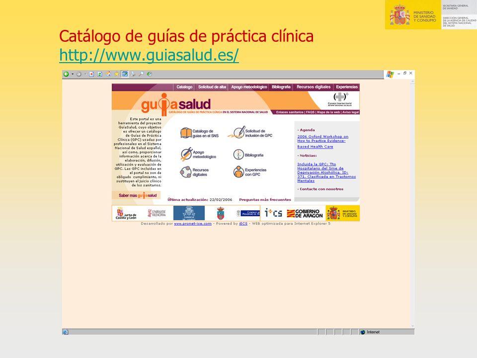Catálogo de guías de práctica clínica http://www.guiasalud.es/