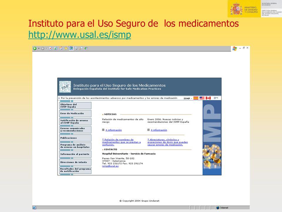Instituto para el Uso Seguro de los medicamentos http://www. usal