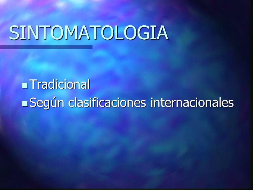 SINTOMATOLOGIA Tradicional Según clasificaciones internacionales