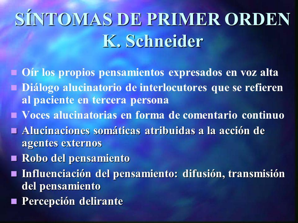 SÍNTOMAS DE PRIMER ORDEN K. Schneider