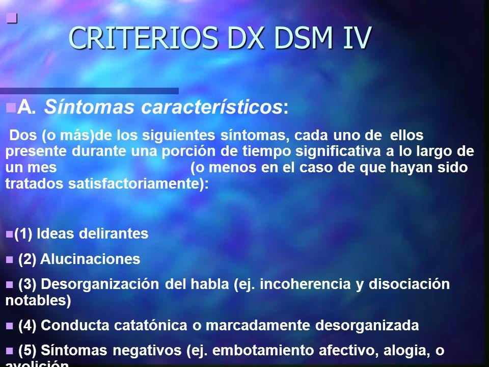 CRITERIOS DX DSM IV A. Síntomas característicos: