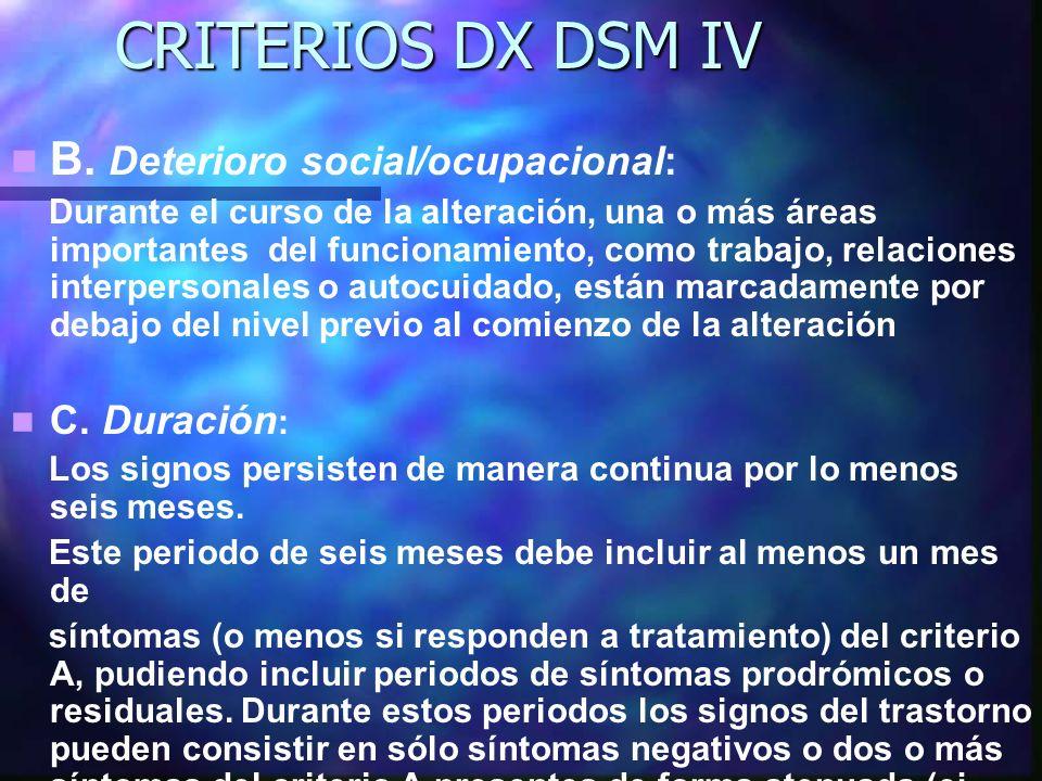 CRITERIOS DX DSM IV B. Deterioro social/ocupacional: C. Duración: