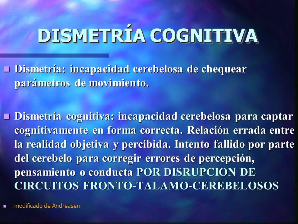 DISMETRÍA COGNITIVA Dismetría: incapacidad cerebelosa de chequear parámetros de movimiento.