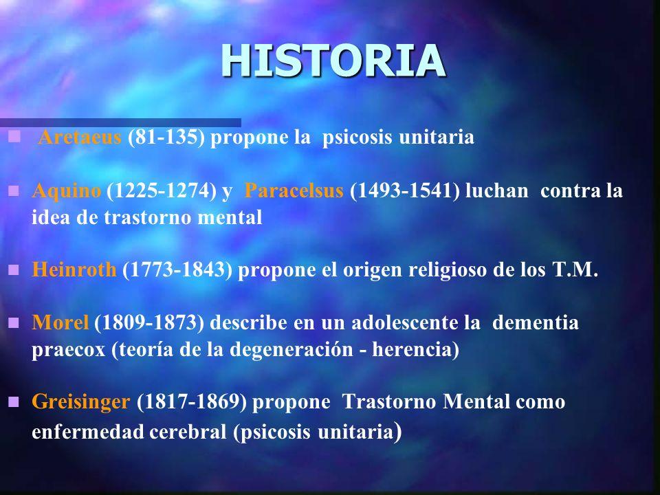 HISTORIA Aretaeus (81-135) propone la psicosis unitaria