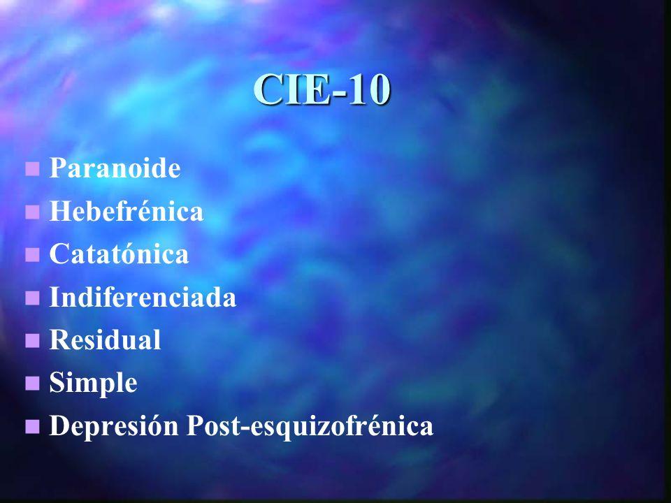 CIE-10 Paranoide Hebefrénica Catatónica Indiferenciada Residual Simple