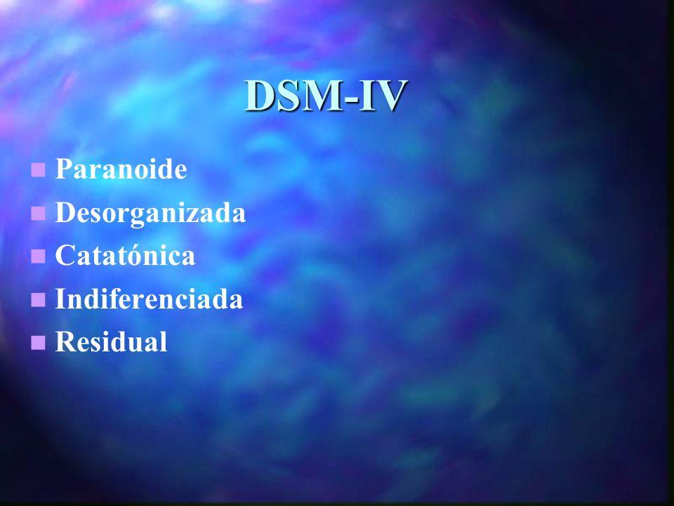 DSM-IV Paranoide Desorganizada Catatónica Indiferenciada Residual