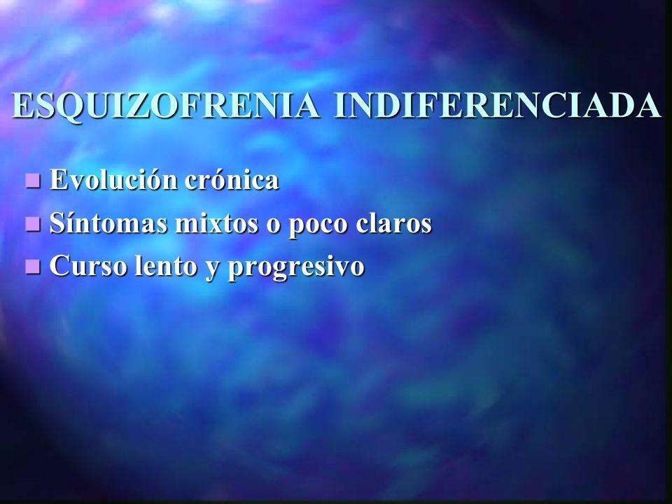 ESQUIZOFRENIA INDIFERENCIADA
