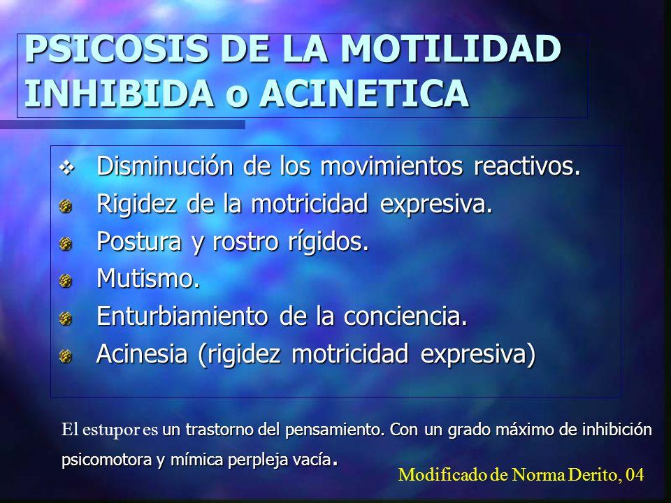PSICOSIS DE LA MOTILIDAD INHIBIDA o ACINETICA