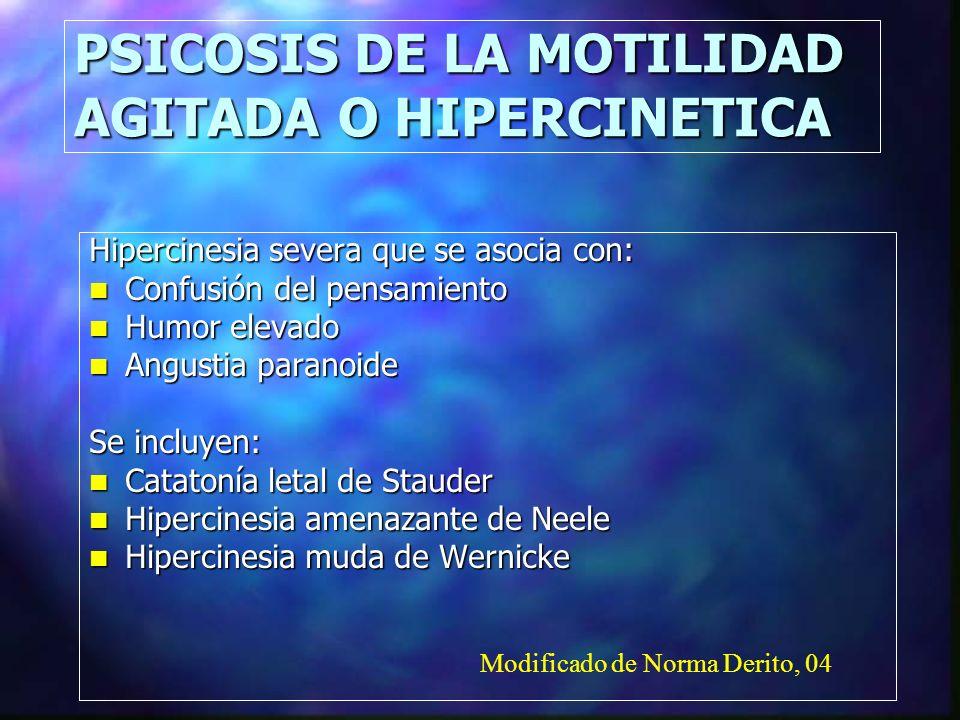 PSICOSIS DE LA MOTILIDAD AGITADA O HIPERCINETICA