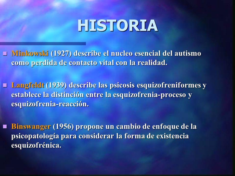 HISTORIA Minkowski (1927) describe el nucleo esencial del autismo como perdida de contacto vital con la realidad.