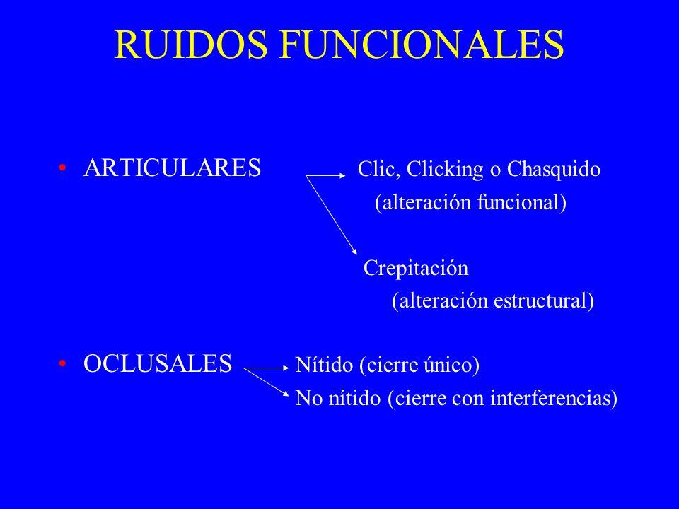 RUIDOS FUNCIONALES ARTICULARES Clic, Clicking o Chasquido