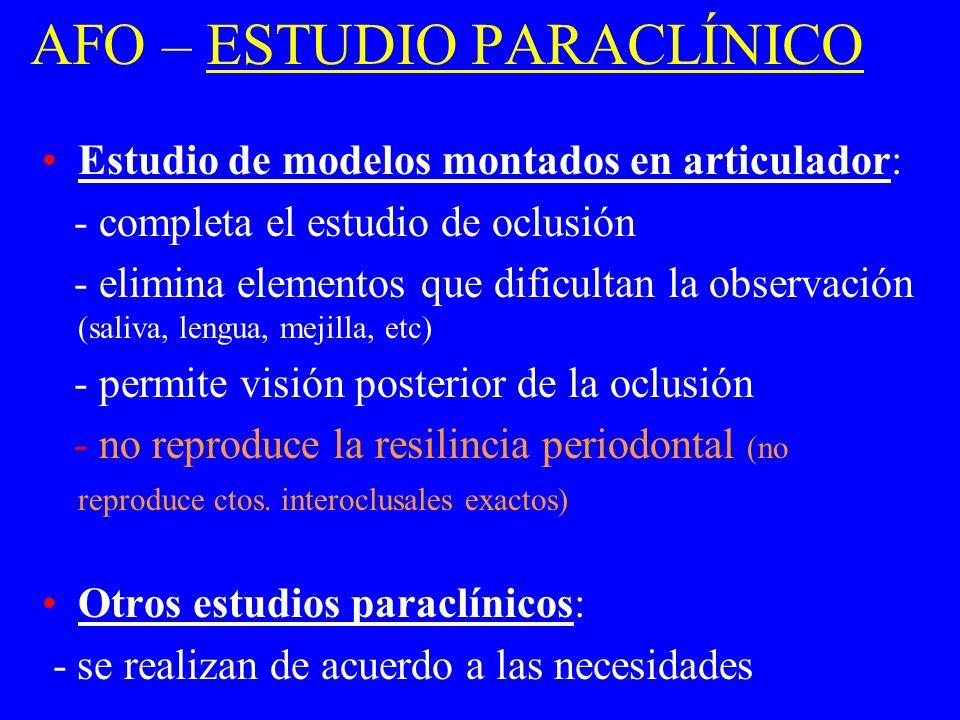 AFO – ESTUDIO PARACLÍNICO