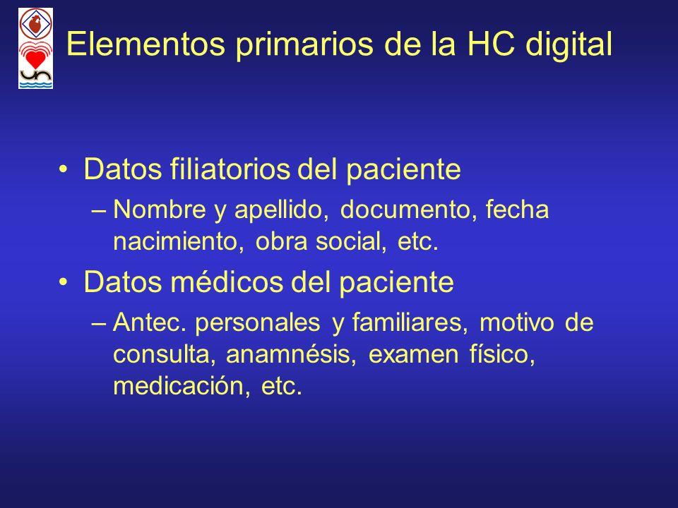 Elementos primarios de la HC digital