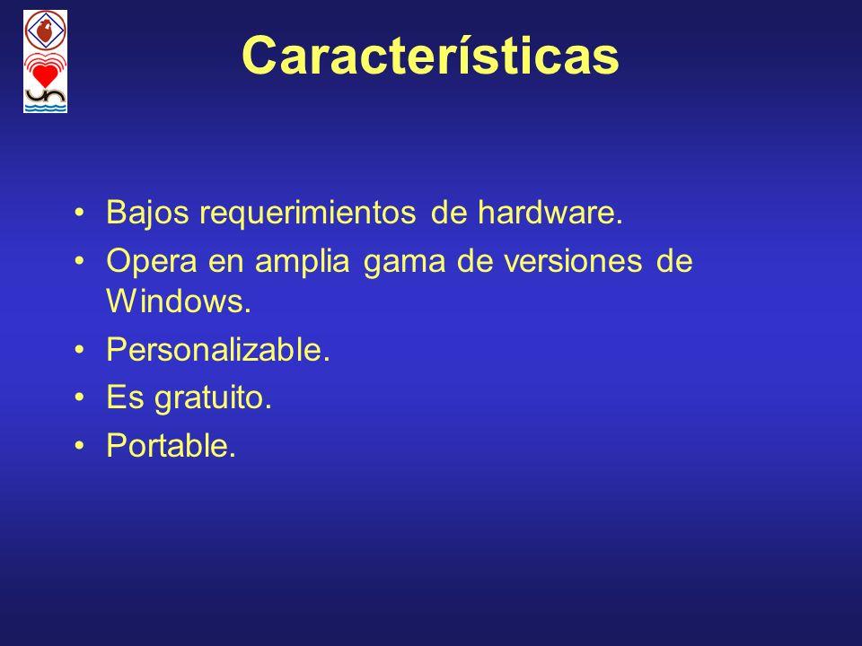 Características Bajos requerimientos de hardware.