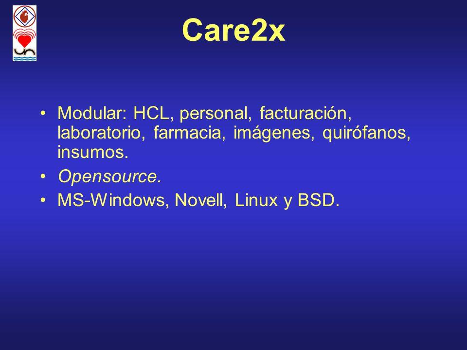 Care2xModular: HCL, personal, facturación, laboratorio, farmacia, imágenes, quirófanos, insumos. Opensource.