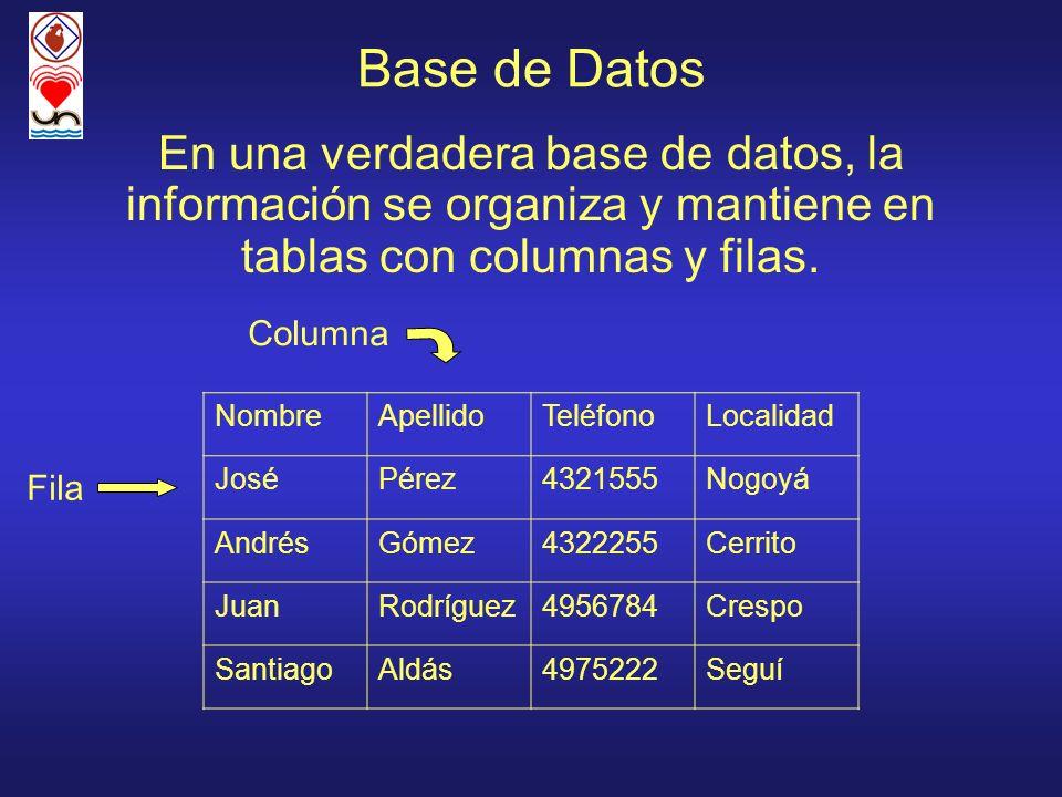 Base de DatosEn una verdadera base de datos, la información se organiza y mantiene en tablas con columnas y filas.