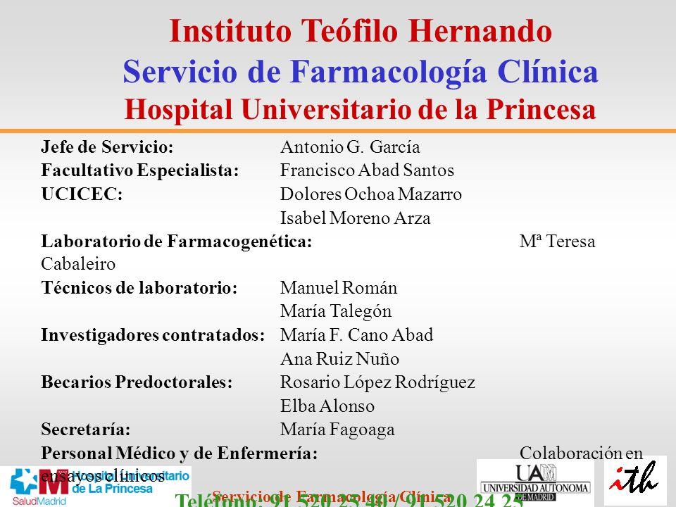 Instituto Teófilo Hernando Servicio de Farmacología Clínica