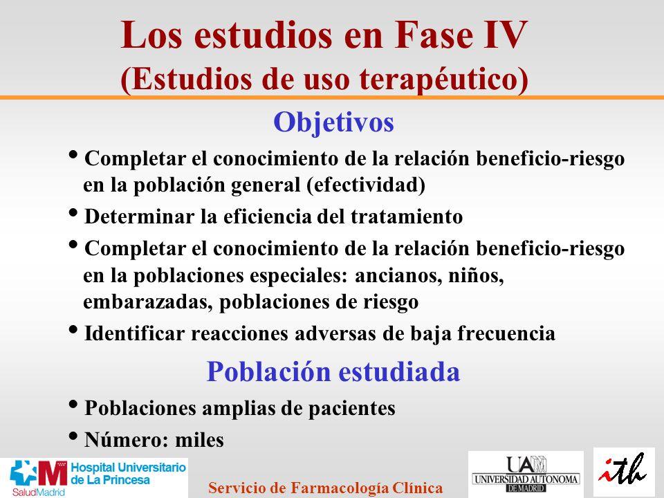 Los estudios en Fase IV (Estudios de uso terapéutico)