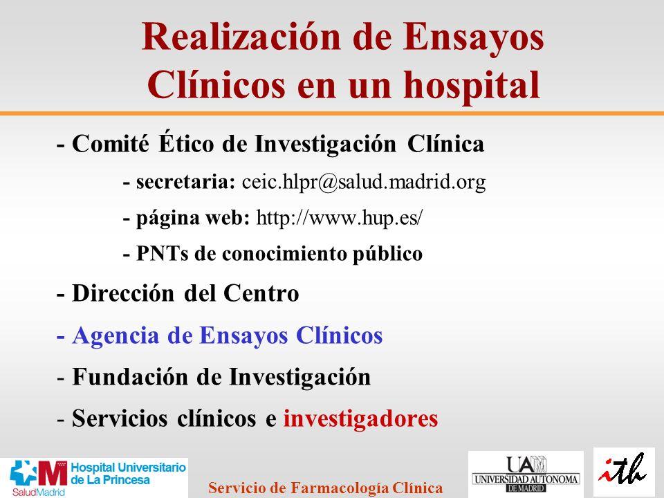 Realización de Ensayos Clínicos en un hospital