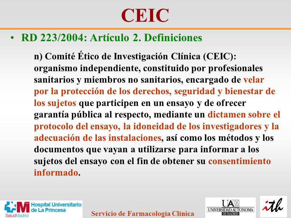 CEIC RD 223/2004: Artículo 2. Definiciones