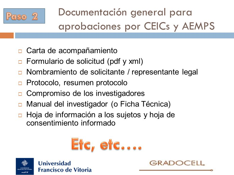Documentación general para aprobaciones por CEICs y AEMPS