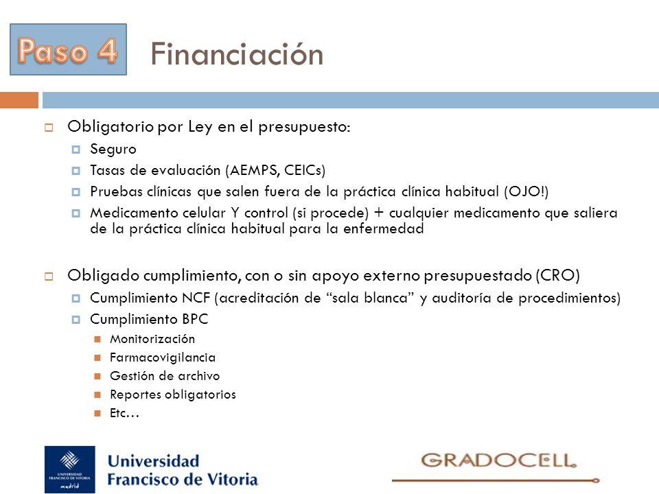 Financiación Paso 4 Obligatorio por Ley en el presupuesto: