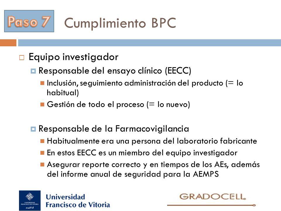 Cumplimiento BPC Paso 7 Equipo investigador