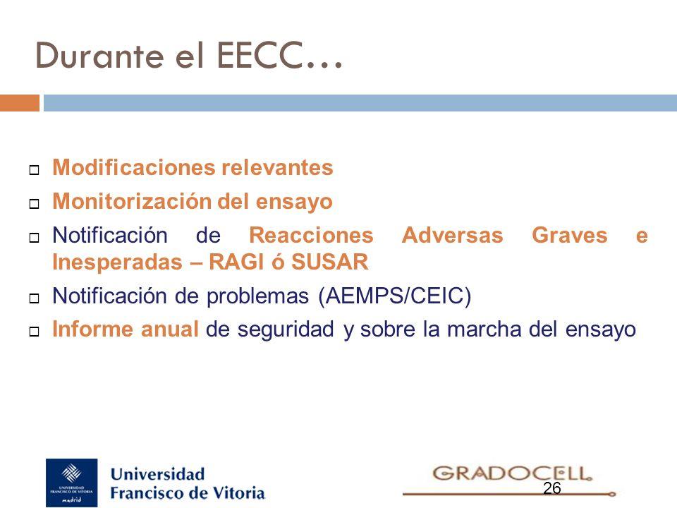 Durante el EECC… Modificaciones relevantes Monitorización del ensayo