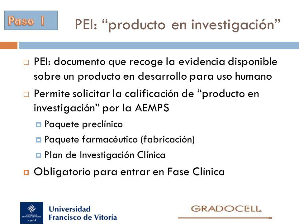 PEI: producto en investigación